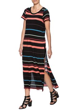 In a maxi silhouette, this knit dress top is featured in a striped print, with a rounded neck. Short sleeves with raw trim and exaggerated side slits complete this lightweight style. Dress is unlined. Pullover style.    Too Legit Maxi Dress by Free People. Clothing - Dresses - Printed Clothing - Dresses - Maxi Clothing - Dresses - Casual Iowa