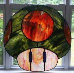 Nintendo Huge Green Mario Mushroom  Stained Glass by MartianGlasswork, $450.00