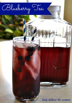 Blueberry Tea - Easy recipe.  Fresh berries, sugar, blender & tea. Yum, this sounds delicious. Make this for the party. Gotta see what other great ideas on this site. Summer Drinks, Cold Drinks, Refreshing Drinks, Fun Drinks, Healthy Drinks, Beverages, Drinking Tea, Blueberry Drinks, Blueberry Green Tea