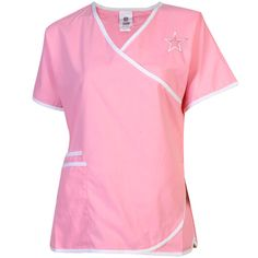 9ac22619619 Seattle Seahawks Women's Breast Cancer Awareness Cancer Care Wrap Scrub Top  - Pink I want it!