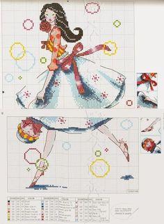 0 point de croix jeune fille et bulles - cross stitch young woman and bubbles