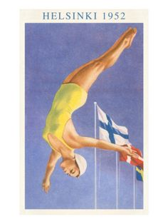 Olympic Diving, Helsinki, Finland, 1952 Sports Art Print - 46 x 61 cm Women's Diving, Diving Board, High Diving, Diving Helmet, Cliff Diving, Deep Diving, Diving Suit, Cave Diving, Helsinki