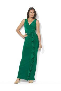 Lauren Ralph Lauren Sleeveless Knotted Floor-Length Matte Jersey Gown Malachite