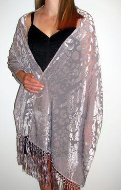 Love women's silver velvet silk evening wraps