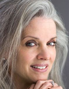 Stunning over 50 makeup with grey hair. Love the warm eyes and sexy rose lips. Visit thedermatory.com