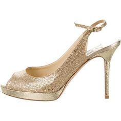 Pre-owned Jimmy Choo Slingback Glitter Pumps (4,390 MXN) ❤ liked on Polyvore featuring shoes, pumps, gold, platform shoes, glitter pumps, glitter platform pumps, ankle strap pumps and platform pumps #platformpumpsanklestraps #platformpumpsglitter