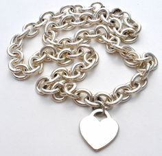 """Stainless Steel Heart Link Necklace Silver 18""""; Long Chunky Heavy Fashion Jewelry 