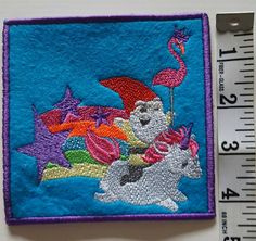 Unicorn rainbow gnome flamingo stars embroidered patch, badge iron on/sew on by 2BinLids on Etsy