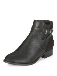 Black Cross Strap Side Boots | New Look
