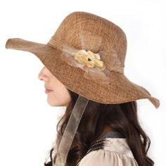 Luxury Lane Women's Natural Colored Floppy Flower Sun Hat with White and Chin Tie