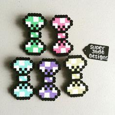 Polka dot bows perler beads by  Super Jade Designs
