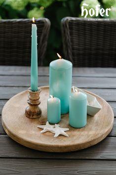Ein kleines Stück Meer im eigenen Garten. Candles, Lawn And Garden, Candy, Candle Sticks, Candle