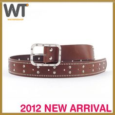 Unisex Woman Man Western Casual Jeans RHINESTONE Brown color Belt | eBay
