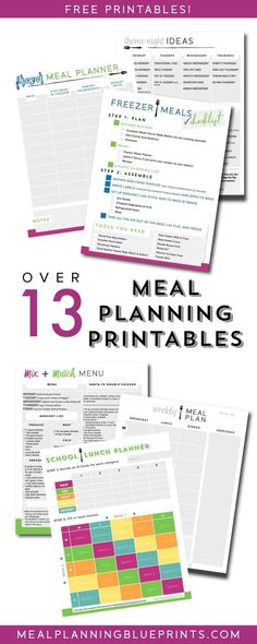 Lots of free meal planning printables - planners, checklists, menus, and ideas! Meal Planning Printable, Printable Planner, Free Printables, Planner Stickers, Meal Planning Binder, Meal Planing, Planner Template, Workout Meal Plan, Workout Plans