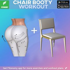 Lower body workout at home, all you need is a chair. Install Fitonomy app for more lower body challenges by clicking the link below. Fitness Workouts, 7 Workout, Fitness Herausforderungen, Training Fitness, Body Workout At Home, Fitness Workout For Women, Workout Challenge, Physical Fitness, Workout Videos