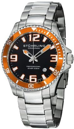 Stuhrling Original Men`s 395.33I117 Aquadiver Regatta Champion Professional Diver Swiss Quartz Date Orange Bezel... - List price: $395.00 Price: $59.99 + Free Shipping