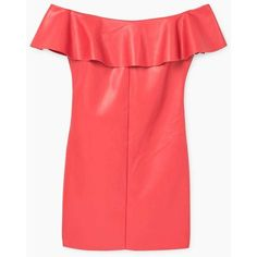 MANGO Ruffled off-shoulder dress (€51) via Polyvore featuring dresses, red faux leather dress, embellished dress, red dress, off shoulder dress and red fitted dress
