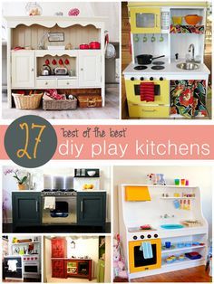The best of the best in diy play kitchens! Find the perfect play kitchen for your little ones. Lots of great tutorials via @tipsaholic #play #kitchen #diy #kids