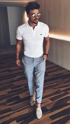 Casual style by Mariano Di Vaio Polo Shirt Outfits, Polo Outfit, Loafers Outfit, Polo Shirts, White Polo Shirt Outfit, Casual Loafers, Dress Shirts, Mens Smart Casual Outfits, Men Casual