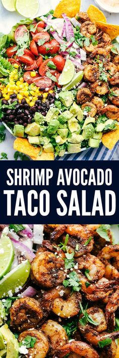 Shrimp Avocado Taco Salad is full of fresh avocados, tomatoes, red onions, black beans and corn. The shrimp cook in a blend of delicious taco seasonings. Serve it with some tortilla chips and this salad is unforgettable! #seafoodrecipes