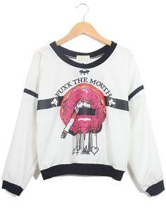White Long Sleeve Contrast Trims Smoking Print Sweatshirt - Sheinside.com