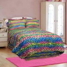Colorful Leopard Animal Print Bedding Set For Girls