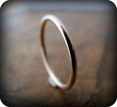 Recycled 14K rose gold ring  1.6mm stacking ring by junedesigns, $235.00