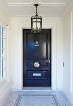 navy blue exterior door, home exterior classically traditional