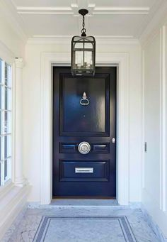 navy blue exterior door, home exterior classically traditional