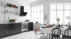 Skandynawska kuchnia black & white ze skośnym okapem przyściennym GLOBALO  Certus