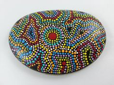 Dot Painted Beach Stone/Dot Art On by TheLakeshoreStore on Etsy