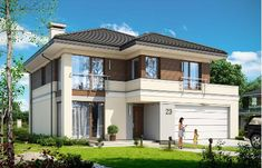 Beautiful House Plans, Modern House Plans, House Front Design, Modern House Design, Classic House Exterior, Sims Building, Home Exterior Makeover, House Elevation, Facade House