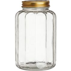 H&M Glass jar with a lid (25 RON) ❤ liked on Polyvore featuring home, kitchen & dining, food storage containers, decor, kitchen, filler, hm, clear glass, glass jars and h&m