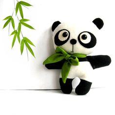 Panda toy stuffed panda bear panda softie panda by ZazoMini, $35.00