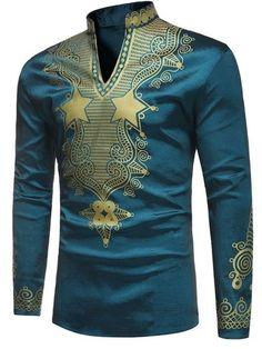 Dashiki Stand Color Slim Men's T-Shirt #AfricanFashion