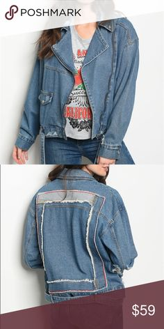 BLUE DENIM MOTO JACKET Welcome To My Closet ✨  Boutique Alert 🔥 NWT. Moto style denim jacket that features a distressed detailed back and relaxed collar. 100% Cotton.   All shipping within 1-3 days!  Please ask questions if you have any doubts before purchasing! Jackets & Coats Jean Jackets