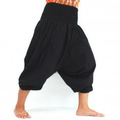 3/5 Harem pants made of cotton, black