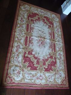 "Beautiful Handmade French Design Needlepoint Aubusson Rug Vtg. 46 1/2"" x 71 1/4"" #Aubusson #TraditionalEuropean"