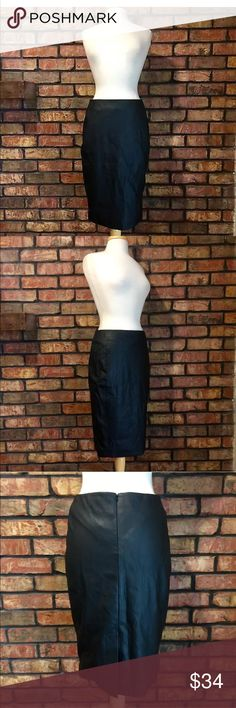 "NWT Gianni Bini Faux Leather Black Pencil Skirt Size: Medium (see measurements below)  Back zip closure, fully lined  New with tags. Smoke free home.  Measurements are taken with garment laying flat:  Waist: 15""  Hips: 18""  Length: 24"" Gianni Bini Skirts Pencil"