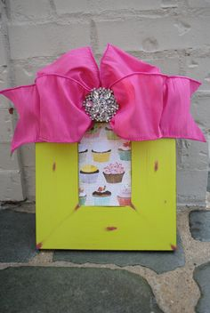 Distressed Frame with Pink Silk Bow & Broach  $48 plus shipping