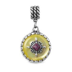 Sterling Silver Gold Mother of Pearl Reversible Charm for European Charm Bracelets