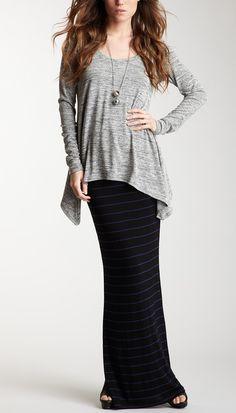 oversized long sleeve shirt, long skirt