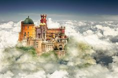 Pena Palace (palácio da pena) is a Romanticist castle on top of hill above town of Sintra Portugal. It is enlisted as one of the Seven Wonders of Portugal. Sintra Portugal, Places In Portugal, Visit Portugal, Portugal Travel, Beautiful Fairies, Beautiful Castles, Beautiful World, Algarve, Places To Travel