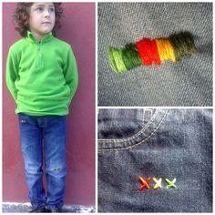 PANDIELLEANDO: Remiendo/Bordado para pantalones (visto en Mamasha)