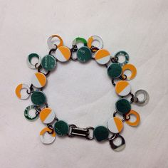 """Orange and Green Recycled Gift Card Bangle Bracelet - 8"""" Double Dangle Bronze Bracelet featuring green and orange recycled gift cards on Etsy, $15.00"""
