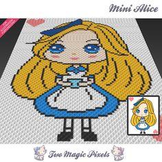 Mini Alice crochet blanket pattern; knitting, cross stitch graph; pdf download…