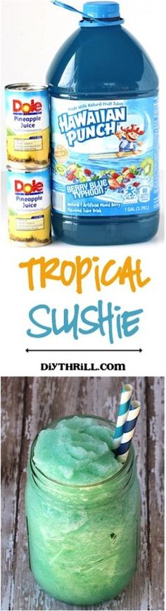 This Slushie is just 3 ingredients and crazy delicio… Easy Tropical Slush Recipe! This Slushie is just 3 ingredients and crazy delicious… the perfect way to cool down on a hot day! Kid Drinks, Frozen Drinks, Non Alcoholic Drinks, Cocktail Drinks, Beverages, Cocktails, Party Drinks, Easy Vodka Drinks, Slushy Alcohol Drinks