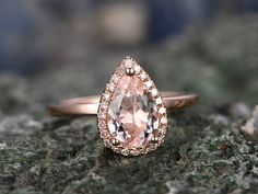 Custom handmade jewelry! The main stone is a 5x7mm Tear Dropped Cut Natural Pink morganite. The material is solid 14k gold(white,yellow,rose gold is also available) Ring size can be choose from the selection box.  Matching band Available.  This jewelry can also be made in solid 10k,14k,18k gold,with real diamonds.Contact me! Need rush order? contact me! Need custom making order? Contact me!  I have confidence on my jewelry.30 days money back guarantee!(For returned item,as this is handmade…