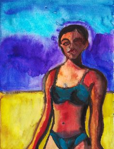 """Brasilianerin/Brazilian"", Aquarell/Watercolour, 24 x 32 cm Watercolour, Paintings, Beach, Art, Idea Paint, Watercolor, Art Production, Painting Art, Pen And Wash"