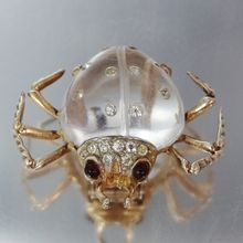 Coro Sterling Jelly Belly Spider Pin / Clip Rare Red Eyes